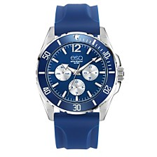 Men's ESQ0245 Multi-Function Stainless Steel Watch, Blue Dial, Silicone Strap
