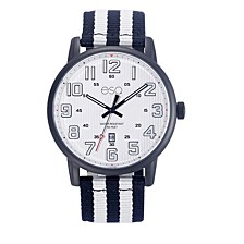 Men's Black IP Stainless Steel Watch, White Dial, Matching Nato Strap