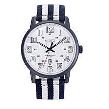 Men's ESQ0261 Black IP Stainless Steel Watch, White Dial, Matching Nato Strap