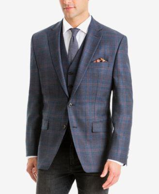 Men's Classic-Fit UltraFlex Stretch Blue/Brown Plaid Wool Sport Coat