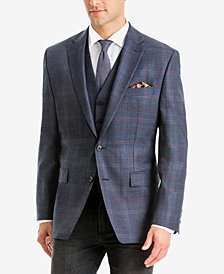 Lauren Ralph Lauren Men's Classic/Regular Fit Stretch Blue/Brown Plaid Wool Matching Jacket and Vest