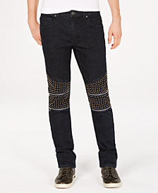 I.N.C. Men's Slim-Straight Fit Stretch Studded Jeans, Created for Macy's