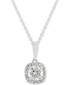 X3 Diamond Halo Pendant Necklace (1 ct. t.w.) in 18k White Gold, Created for Macy's