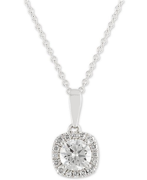 3677a9243 X3 Diamond Halo Pendant Necklace (1 ct. t.w.) in 18k White Gold, ...