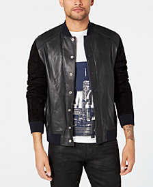 A|X Armani Exchange Men's Mixed Media Leather Bomber with Suede Sleeves