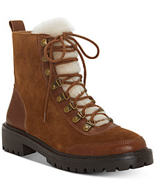 Lucky Brand Ilianna Lace-Up Faux Fur Hiker Boots