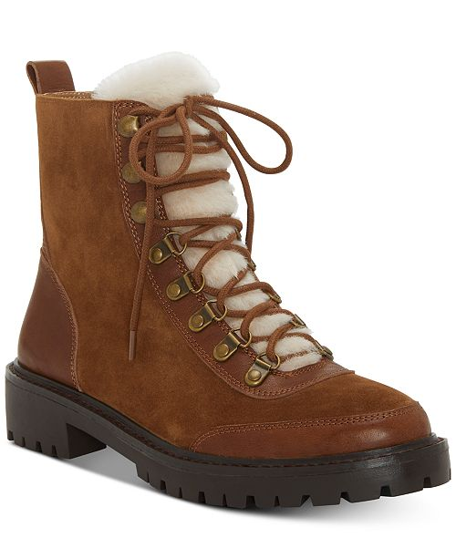 aee6c937141 Lucky Brand Ilianna Lace-Up Faux Fur Hiker Boots   Reviews - Boots ...
