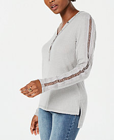 American Rag Juniors' Crochet-Trimmed Waffle-Knit Henley Top, Created for Macy's
