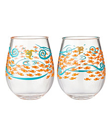 Enesco Lolita Fish Out of Water 2-Pc. Stemless Wine Glass Set