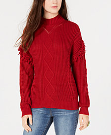 American Rag Juniors' Mixed-Knit Fringe Turtleneck Sweater, Created for Macy's