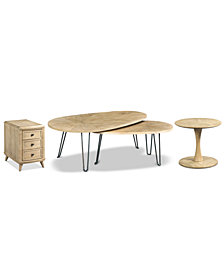Piper Table Collection, 3-Pc. Set (Bunching Table, Charging Chairside Table, & Round Side Table)