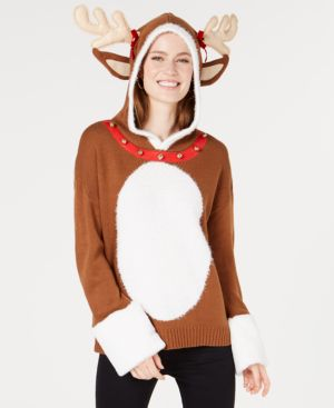 Hooked Up by Iot Juniors' Hooded Reindeer Sweater - Toffee