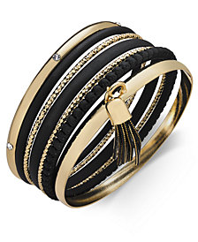 Thalia Sodi Gold-Tone Coated Stone Multi-Row Bangle Bracelet, Created for Macy's