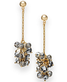 I.N.C. Gold-Tone & Hematite-Tone Bead Linear Drop Earrings, Created for Macy's