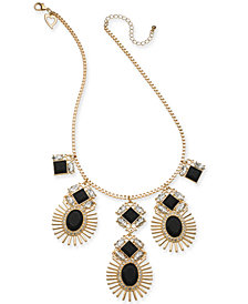 "Thalia Sodi Gold-Tone Satin-Wrapped Stone Statement Necklace, 18"" + 2"" extender, Created for Macy's"