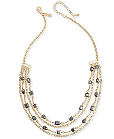 "I.N.C. Gold-Tone & Hematite-Tone Bead Layer Necklace, 20"" + 3"" extender, Created for Macy's"