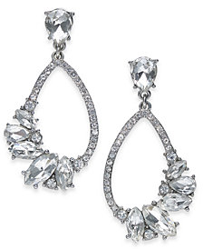 "I.N.C. Medium Silver-Tone Crystal Open Drop Earrings, 1.2"", Created for Macy's"