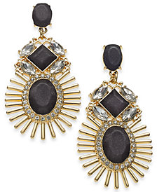 "Thalia Sodi Extra Large Gold-Tone & Black Crystal Sun Drop Earrings, 3.1"", Created for Macy's"