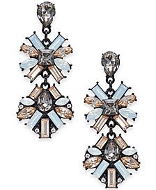 "I.N.C. Large Black-Tone Neutral Crystal Double Drop Earrings, 2"", Created for Macy's"