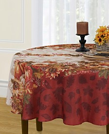 """Elrene Swaying Leaves Double Border 70"""" Round Tablecloth"""