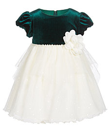 Bonnie Baby Baby Girls Pearl-Trim Dress