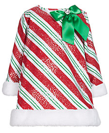 Bonnie Baby Baby Girls Faux-Fur Trim Striped Santa Dress