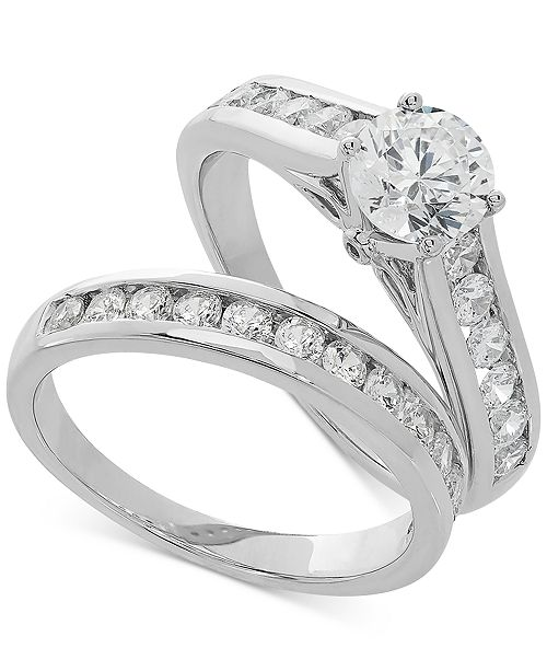 Grown With Love Lab Grown Diamond Channel-Set Bridal Set (2 ct. t.w.) in 14k White Gold