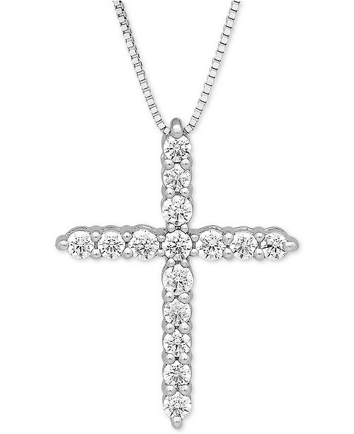 """Grown With Love Lab Grown Diamond Cross 18"""" Pendant Necklace (1/2 ct. t.w.) in 14k White Gold"""