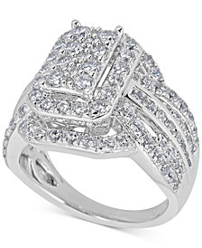 Diamond Step Engagement Ring (2 ct. t.w.) in 14k White Gold