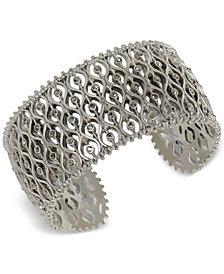 Lucky Brand Silver-Tone Pavé Openwork Cuff Bracelet