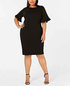 Calvin Klein Plus Size Ruffled-Sleeve Sheath Dress