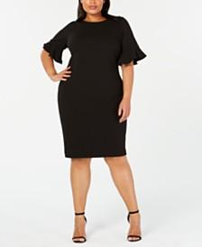 Calvin Klein Plus Size Ruffled-Sleeve Sheath Dress