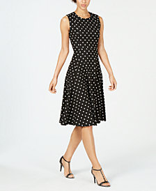 Calvin Klein Polka Dot Fit & Flare Dress