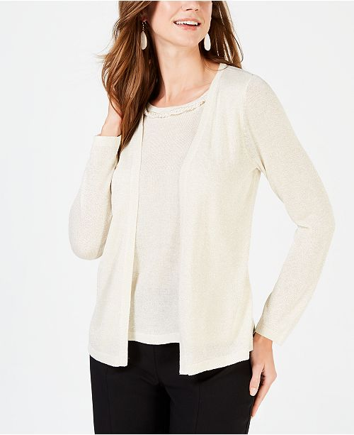 NY Collection Petite Layered-Look Embellished Cardigan