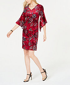 NY Collection Petite Velvet Printed Dress