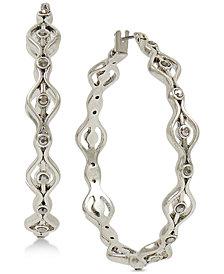 Lucky Brand Silver-Tone Pavé Openwork Hoop Earrings