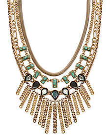 "Lucky Brand Gold-Tone Crystal & Stone Multi-Chain Statement Necklace, 18"" + 2"" extender"