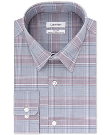 Calvin Klein Men's STEEL Classic/Regular Fit Non-Iron Performance Plaid Dress Shirt