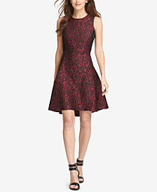 DKNY Jacquard Fit & Flare Dress, Created for Macy's