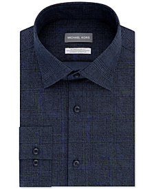Michael Kors Men's Classic/Regular Fit Non-Iron Airsoft Stretch Performance Plaid Dress Shirt
