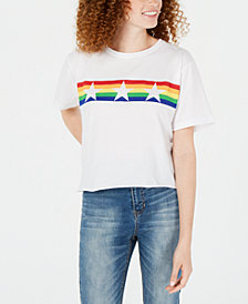 Rebellious One Juniors' Rainbow Star Graphic T-Shirt