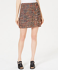J.O.A. Embellished Tweed Skirt
