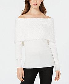 XOXO Juniors' Eyelash Off-The-Shoulder Sweater