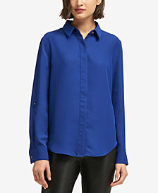 DKNY Button-Front Collared Shirt, Created for Macy's