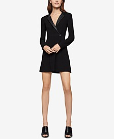 Faux-Leather-Trim Blazer Dress