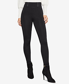 BCBGMAXAZRIA Faux-Leather-Trimmed Ponté-Knit Leggings
