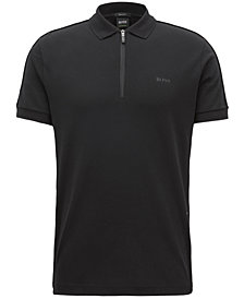 BOSS Men's Half-Zip Cotton Polo
