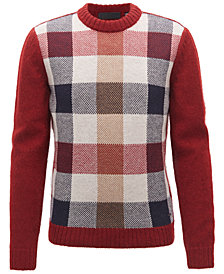 BOSS Men's Multi-Textured Plaid Sweater