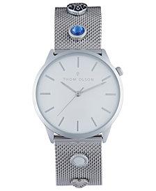 Thom Olson Women's Silver-Tone Mesh Bracelet Watch 34mm