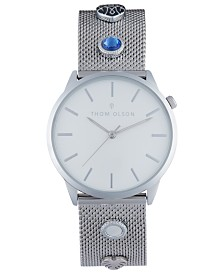 Thom Olson Women's Silver-Tone Mesh Bracelet Watch 34mm